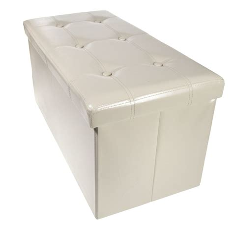 faux leather ottoman coffee table storage bench ottoman faux leather foldable collapsible