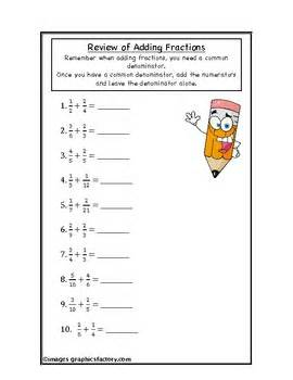 Fractions Review Worksheet by Fractions Addition Review Worksheet By Teaching High