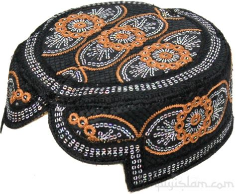 Stitch Topi sindhi black ethnic cap hat with silver sequins and orange stitch detail topi simplyislam