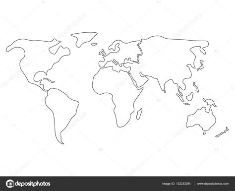 simplified world map divided to continents simple black