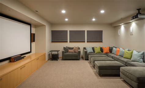 media room seating home theater contemporary with beige