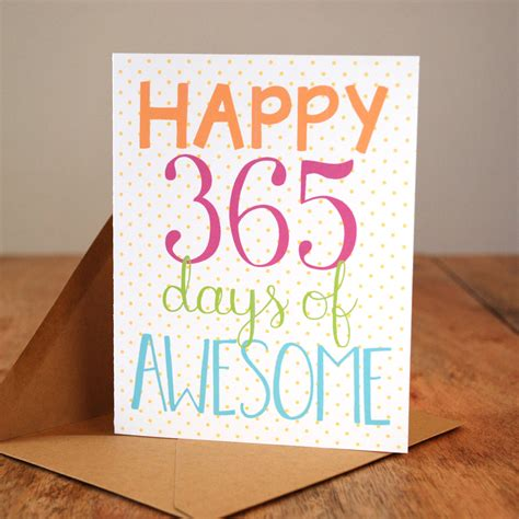 Wedding Anniversary Gift Schedule by Happy 365 Days Of Awesome Anniversary Card
