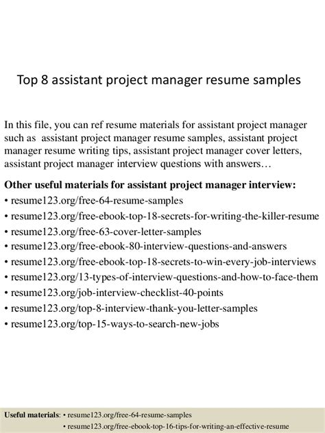 awesome construction assistant project manager resume