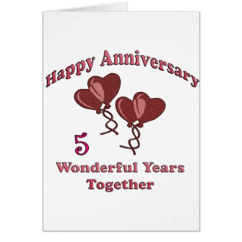 5 year anniversary card template 5 year anniversary cards 5 year anniversary card