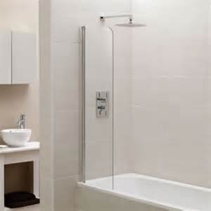 april identiti2 fixed mini bath screen small short woman wearing shorts standing in bath under shower mid