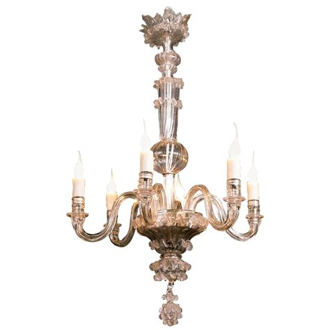 Vintage Murano Chandelier Vintage Clear Glass Murano Chandelier At 1stdibs