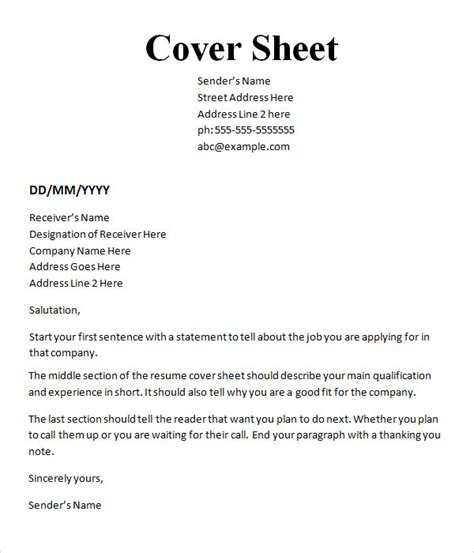 resume cover sheet template word 10 cover sheet templates sle templates