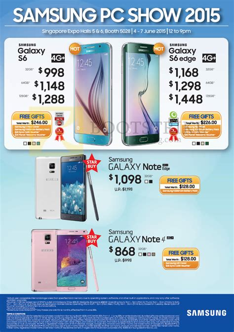 samsung galaxy note 4 price in singapore 2015 samsung smartphones galaxy s6 s6 edge note edge note 4 pc show 2015 price list brochure flyer