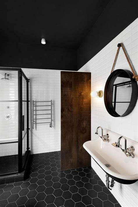 black  white hexagon bathroom floor tile ideas  pictures