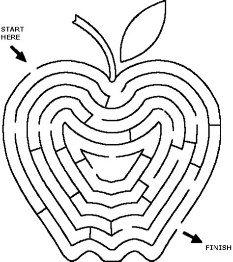 printable apple maze fall printable maze games for kids sketch coloring page