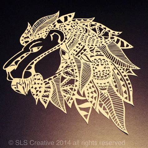 aztec lion tattoo abstract aztec jungle paper cut papercut template