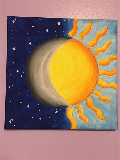 Easy Paintings by Half Sun Half Moon Painting Idea My Painting