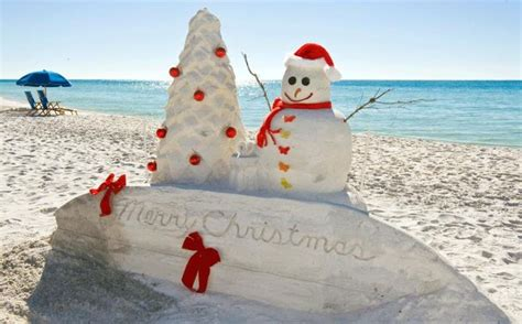 merry christmas on the beach sand sculpture of snowman