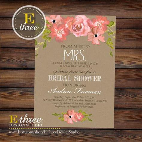 printable bridal shower invitations rustic printable bridal shower invitation rustic watercolor