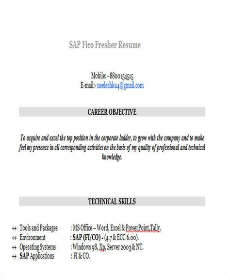sap fresher resume 42 professional fresher resumes sle templates