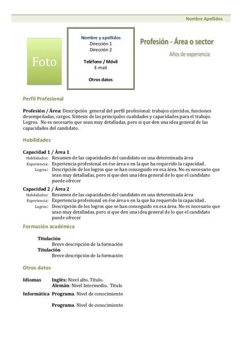 Modelo De Un Curriculum Funcional O Tematico Curriculum Vitae Modelo Funcional