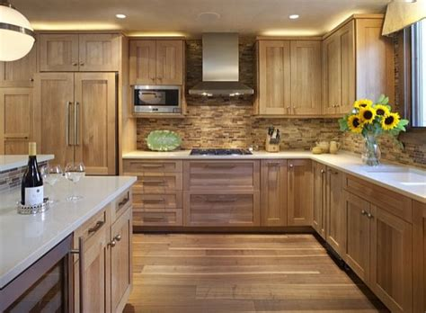 wood backsplash kitchen kitchen with wooden tile backsplash and wooden cabinetry