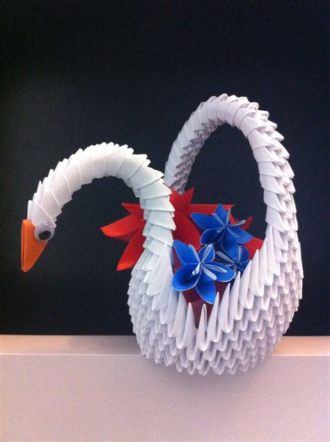 How To Make 3d Origami Animals - 3d origami swan basket by kanna chan0 on deviantart