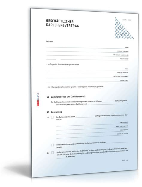 Muster Darlehensvertrag Gesch 228 Ftlicher Darlehensvertrag Muster Zum