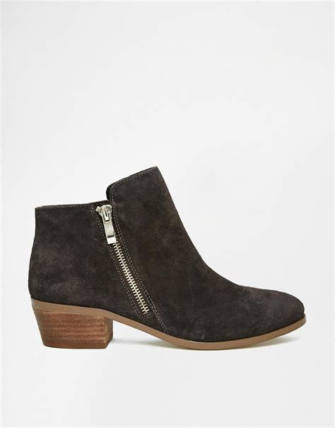 image 1 of river island leather grey western ankle boots