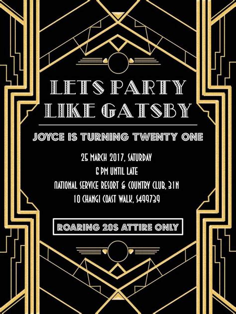 the great gatsby invitation template invitation templates great gatsby invitations