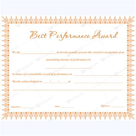 certificate of performance template 89 award certificates for business and school events