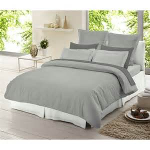 White Double Duvet Cover Set Dormisette Light Grey Chambray 100 Brushed Cotton Duvet