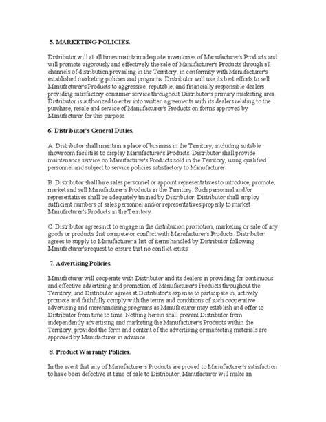 distributorship agreement template exclusive distributorship agreement free
