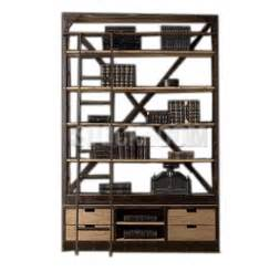 industrial bookcase with ladder eiffel industrial wide bookshelf with ladder stockroom