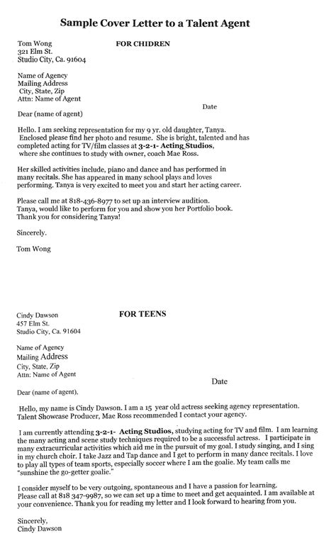 Actors Cover Letter by 12 Steps To Writing Actor Cover Letters To Talent Agents Kid S Top Acting Coach