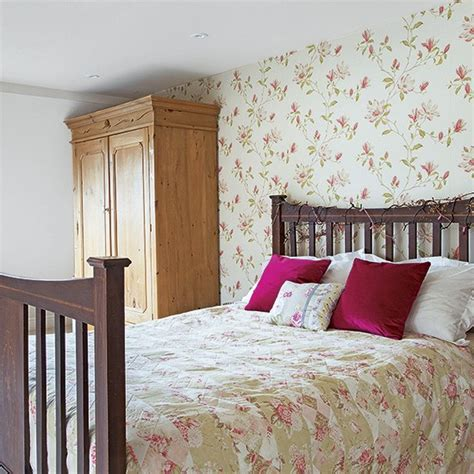 country bedroom wallpaper country bedroom with floral wallpaper and brown furniture