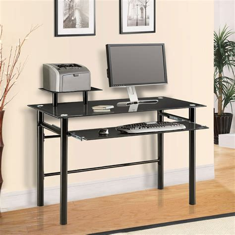 Innovex Computer Desk With Glass Top Innovex Black Glass Computer Desk Dp1042g29