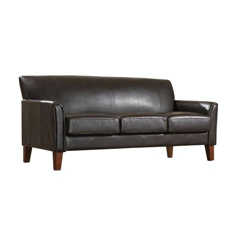 vinyl couches homesullivan vinyl microfiber sofa in dark brown 409913pu