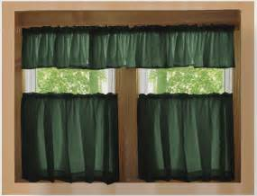 Kitchen Curtains And Valances Solid Forrest Green Caf 233 Style Tier Curtain Includes 2 Valances And 2 Kitchen Curtain