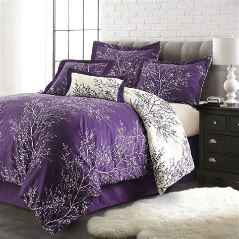 queen purpleivory  piece foliage collection plush reversible comforter set ebay
