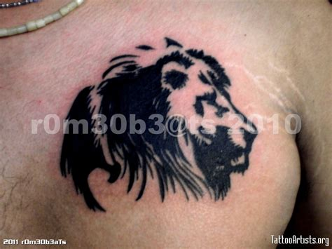 black lion tattoo black on chest