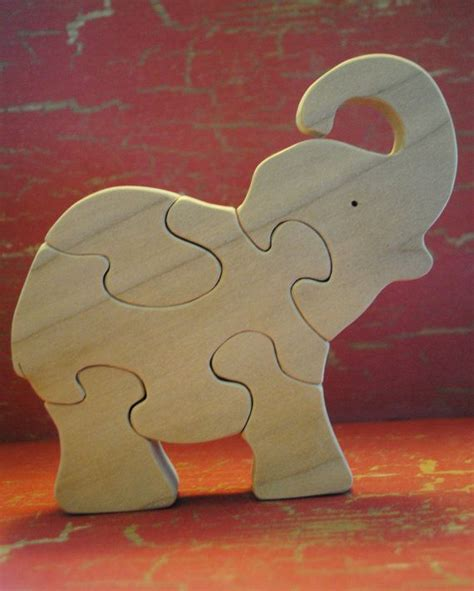 Handmade Elephant - handmade wooden baby elephant childrens puzzle