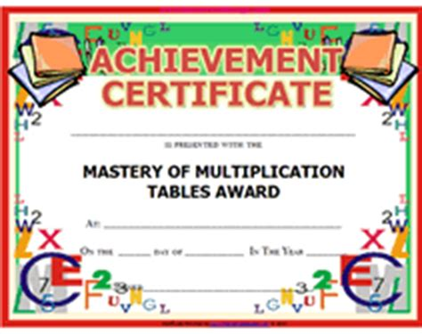 math certificate template free printable math mastery of multiplication tables