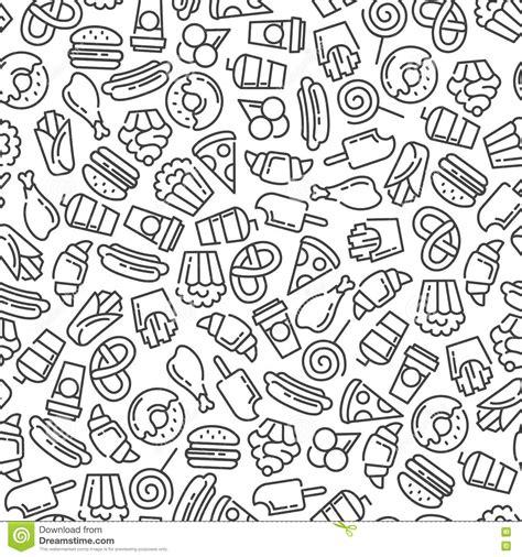 seamless pattern food fast food menu set of cartoon vector seamless pattern