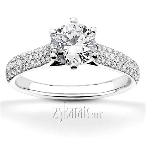 Micro Pave Engagement Rings by Trellis Center Micro Pave Engagement Ring
