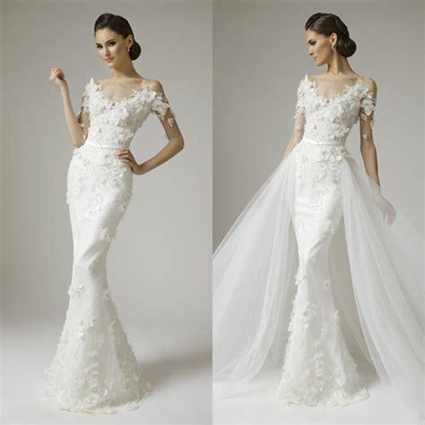 mermaid half sleeves appliques beads wedding dresses