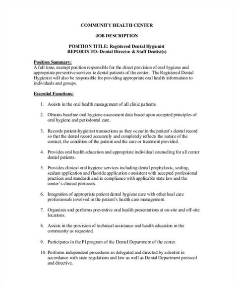 Dental Hygienist Resume Exle by Sle Dental Hygienist Resume 8 Exles In Word Pdf
