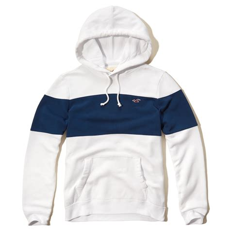 Hoodie Hollister1 hollister iconic colorblock hoodie in blue for lyst