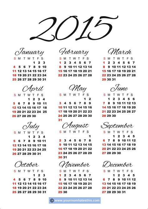 printable calendar year at a glance 2015 download printable 2015 calendar