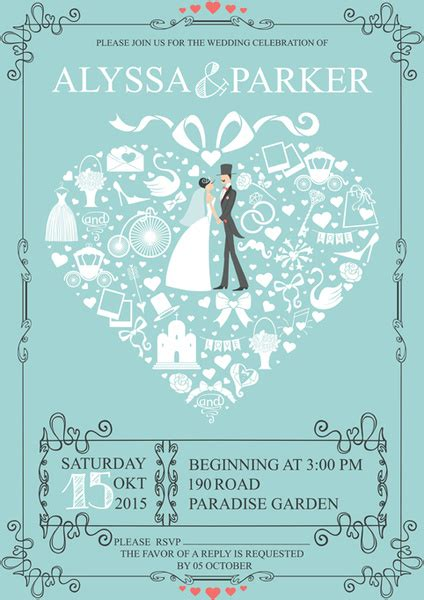 Wedding Card Eps by Wedding Cards Retro Style Vector Free Vector In