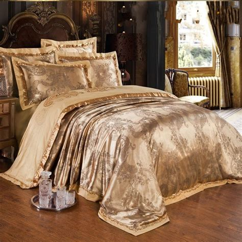 luxury bed sheets gold jacquard silk comforter duvet cover king queen 4pcs