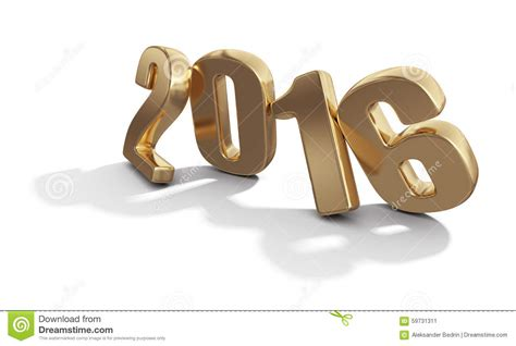 new year 2016 white background happy new year 2016 golden 3d numbers on white stock