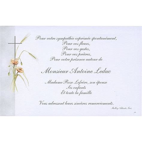 carte remerciement d 233 c 232 s deuil condol 233 ances obs 232 ques