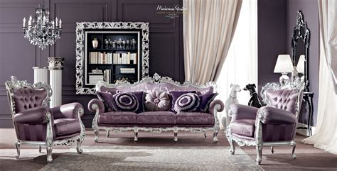 silver living room furniture vogue salon with purple upholsteries and furniture