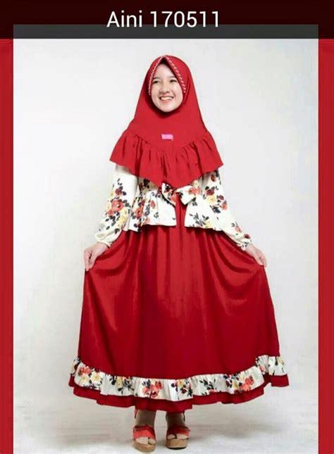 Baju Muslim Warna Merah aneka model baju lebaran tahun 2017 anak perempuan merek aini